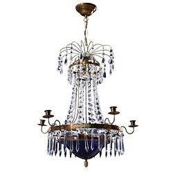 Antique 6 Arm Crystal Empire Chandelier With Decorative Blue Glass Bowl 1900and039s