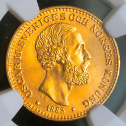 1883 Kingdom Of Sweden Oscar Ii. Gold 10 Kronor Coin. 4.48gm Ngc Ms-66