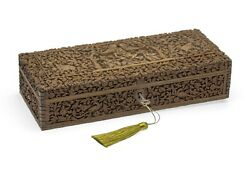 Antique Colonial Indian Carved Sandalwood Glove Box With Shiva, Mysore C1860