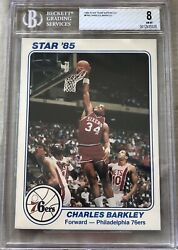 Charles Barkley 76ers 1985 Star Supers 5x7 Rookie Card Rc Graded Bgs 8 Nrmt-mt