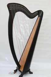 Musical Instrument Black Tall Celtic Irish Harp 38 Strings Lever Solid Wood With