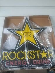New Rockstar Energy Drink Hanging Bar Led Sign Man Cave. Dimensions 77x82x8.2