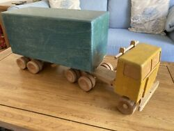 Vintage 1960s Toy Wooden Lorry/truck And Trailer - Large 65cm