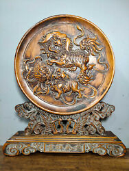 Collect Exquisite China Boxwood Wood Carved Lion Rolling Hydrangea Screen Statue