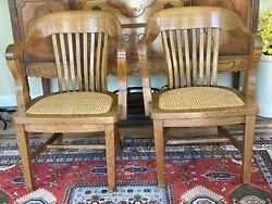 Antique Oak Derby Chair Co. Cane Bottom Banker Chair Mission Sold Each Free Ship