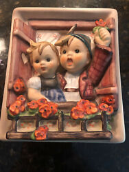 Wall Plaque Hummel Boy And Girl Waving From Window
