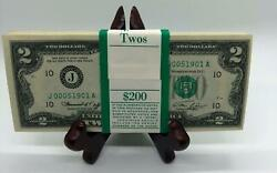 100 Strap Of 1976 Two 2 Dollar Bills Lowe Serial Numbers Uncirculated