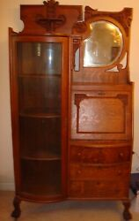 Antique Tiger Oak Side-by-side Drop Front Secretary Bookcase With Curved Glass