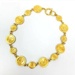 Vintage Authentic Necklace Penadant Coco Logo Gold Gp Coin Old 410 Mm 797