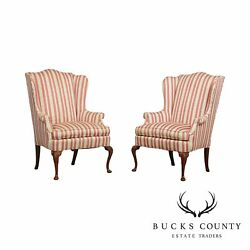 Hickory Chair Queen Anne Style Pair Mahogany Wing Chairs