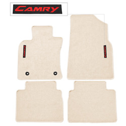 For 18-21 Toyota Camry Floor Mats Carpet Front And Rear Nylon Beige W/ Red Camry