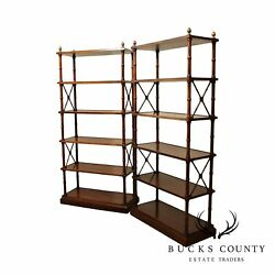 Regency Style Vintage Mahogany Faux Bamboo X Side Pair Etageres Bookcases