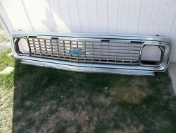 71-72 Chevy Truck Aluminum Outer And Inner Grille Shell W/blue Bowtie Oem