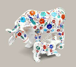 Marble Handmade Decorative Cow Multi Stone Floral Marquetry Design Gift For Her