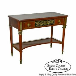John Widdicomb Neo Classical Style Bronze Mount 1 Drawer Console Table