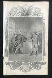 Steel Engraving Washington George Gen The Oath At Valley Forge