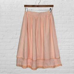 Vintage 80s 90s Tiered Lace Trim Skirt Cottagecore Farm Girl Style Soft Pink