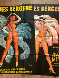 Set Of 2 Folies Bergere Sexy French Showgirl Posters Pin-up Blue Pink Paris Wow