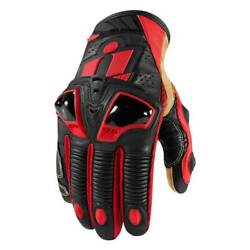 Icon Hypersport Pro Short Motorbike Motorcycle Leather Gloves Red