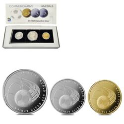 2009 Israel Gold/silver Fifa World Cup South Africa 3-coin Set W/box And Coa