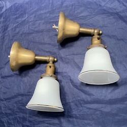 Pair Early Electric Brass Sconces Milk White Shades Rewired Lights 121d