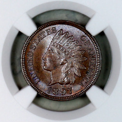 1897 Ms65 Bn Ngc Indian Head Penny Premium Quality Superb Eye-appeal