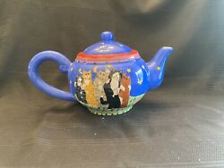 Catzilla Teapot Cats Moon And Stars Candace Reiter 2001