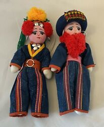 """2 Vintage 10"""" Thai Chiang Mai Akha Tribal Ethnic Dolls Hand Made And Painted."""