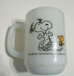 1965 Fire King Snoopy Woodstock Milk Glass Mug At Times Life Is Pure Joy