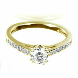 Vvs2 Solitaire Accented Diamond Ring 1.14 Carats Round Natural 14k Yellow Gold
