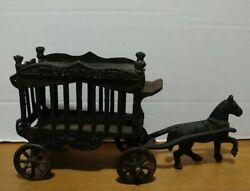 Vintage Iron Art 2 Piece Cast Iron Horse And Overland Circus Cage Wagon