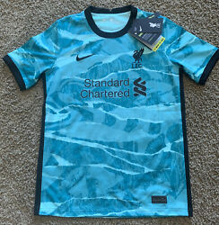 Nike Liverpool 20-21 Away Hyper Soccer Jersey Turquoise/black Sz Large Youth New