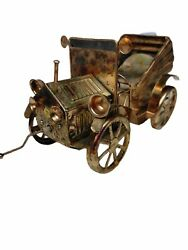 Vintage Copper Tin Metal Art Music Box Antique Car Auto Tune King Of The Road