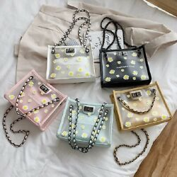 Women#x27;s Daisy Shoulder Bag Transparent Fashion with Jelly Chain Purse Clutches $16.99