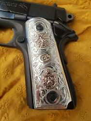 1911 Sterling Silver 10kt Real Gold Grips Mexican /aztec Colt 38 Super.45acp