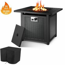 30 Outdoor Propane Fire Pit Patio Gas Table Square Fireplace 50,000btu Us
