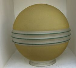 Good Looking Antique Art Deco Frosted Glass Lamp Shade With Green Bands
