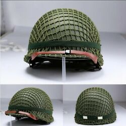 Us Army M1 Green Helmet Replica Adjustable With Net Chinstrap Tactical Paintball