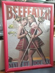 Vtg Beefeater Gin Mirrored Bar Sign Make It A Double