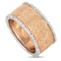 Buccellati 18k Rose Gold And White Gold Wide Band Ring