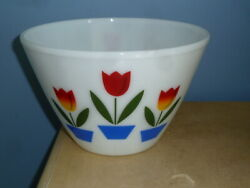 """Vintage Fire-king Oven Ware Tulip Flower Large Mixing Nesting Bowl 9 1/2"""", 9.5"""