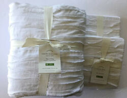 Pottery Barn Camille Cotton Duvet Cover King/cal King And Two Euro Shams White Nwt