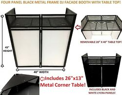 Dj Event Facade White/black Scrim Metal Frame Booth W/table Top+corner Table Top
