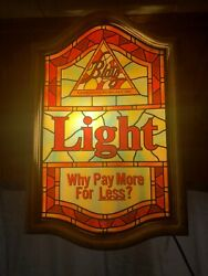 Lighted Vintage Blatz Light Beer Sign Why Pay More For Less 19x13x5 Light Up