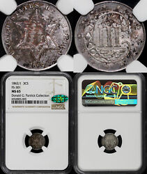 1862/1 3cs Fs-301 Three Cent Silver Ngc And Cac Ms 65 Ex Patrick Collection