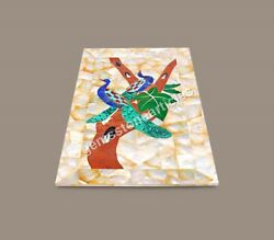 Random Art Marble Food Serving Tray Mop Inlaid Peacock Art Gifts Her Wedding