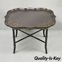 Faux Bamboo Georgian Style Brown Lacquer Scallop Tray Top Coffee Cocktail Table