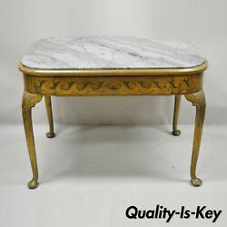Antique French Adams Style Hand Painted Queen Anne One Drawer Center Table
