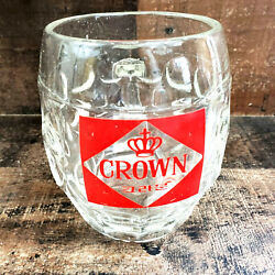 Vintage Traditional Old Dimpled One Pint Bubble Glass Beer Tankard Crown Stamp