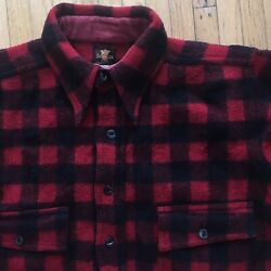 Vtg 1930s 40s Buck Skein Black And Red Wool Flannel Pullover Workwear Shirt